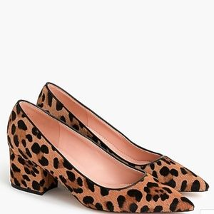 Calf hair leopard block heels